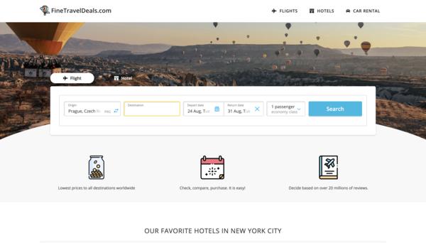 FineTravelDeals.com - Hotel, Flight, Car Rental and Cruise Travel Search Engine. Beginner Friendly.
