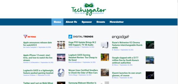 TechyGator.com - TechyGator.com is Modern Tech News Aggregator That is Built Using A.I Technology