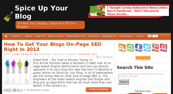 spiceupyourblog com — Website Listed on Flippa: Spice Up