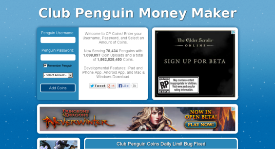 Clubpenguincoins. Com — website listed on flippa: cp cheating site.