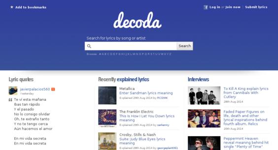 decoda com — Website Sold on Flippa: Lyrics site with