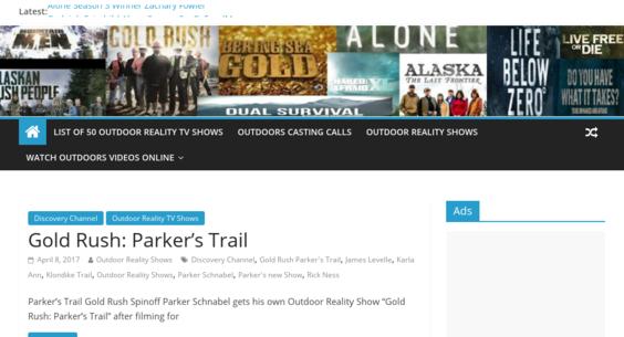 OutdoorRealityShows com — Website Sold on Flippa: 3 Years