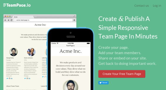 teampage io — Website Sold on Flippa: Create and publish a