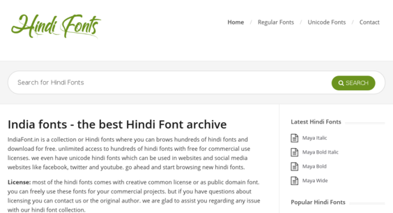 indiafonts in — Website Listed on Flippa: a hindi fonts